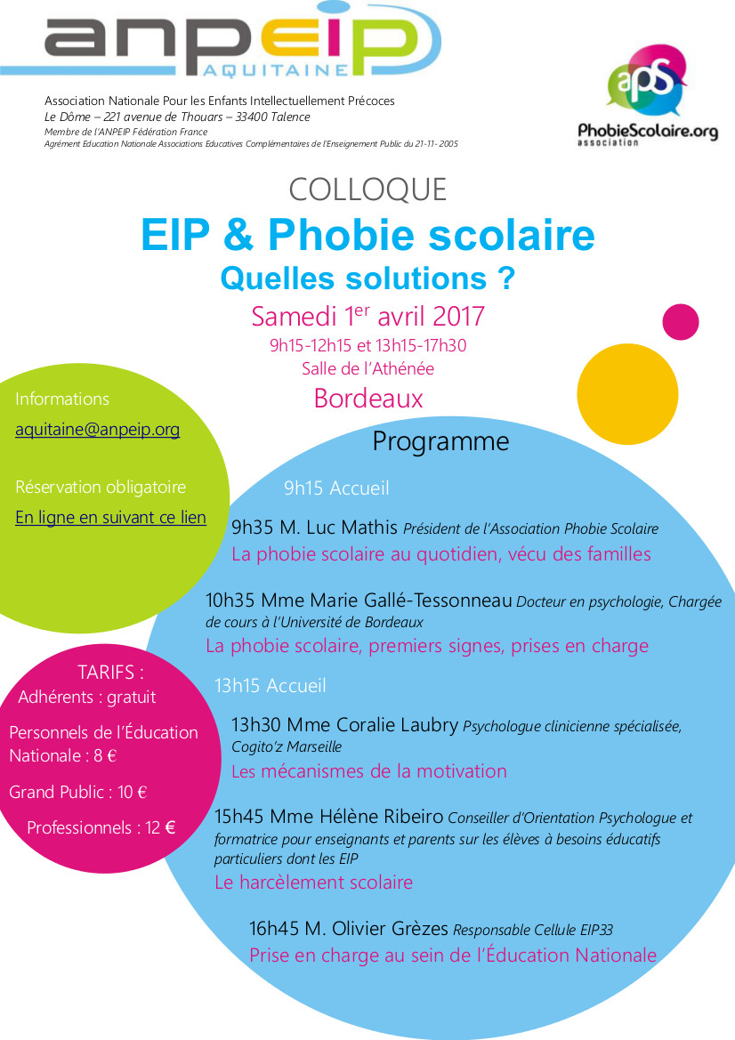 Colloque eip phobie scolaire 33 samedi 1 avril 2017 for Phobie chiffre 13
